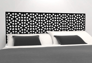 headboard decal instead of buying bedroom furniture for rental home