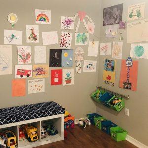 kids art gallery in playroom