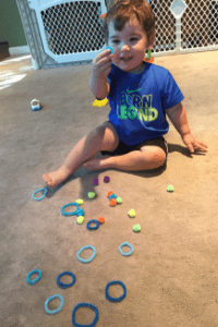 Exploring materials indoor toddler sorting activity