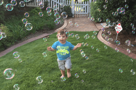 outdoor fun with bubbles toddler activity