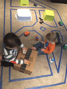 Simple toddler activity floor road map