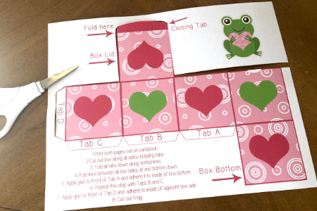 Cut out the box step 2 valentine frog craft