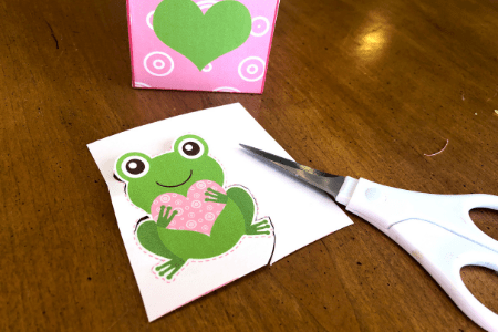 Valentine's Day craft for kids cut out frog