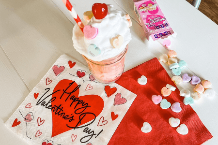 valentines day ice cream kids drink sweetheart conversation hearts